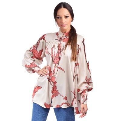 Nidodileda Eden satin floral mao shirt (B-282 NUDE)