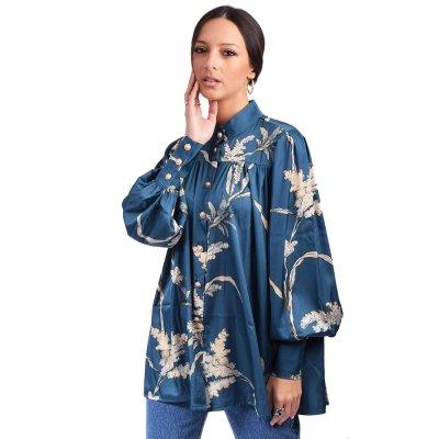 Nidodileda Eden satin floral mao shirt (B-282 PETROL)