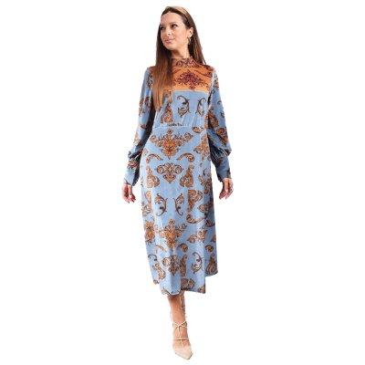 Nidodileda Selene paisley velvet midi dress (B-292 BABY BLUE)