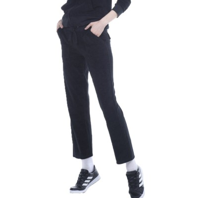 Body Action WOMEN BASIC TOWEL PANTS (021948-01 BLACK)