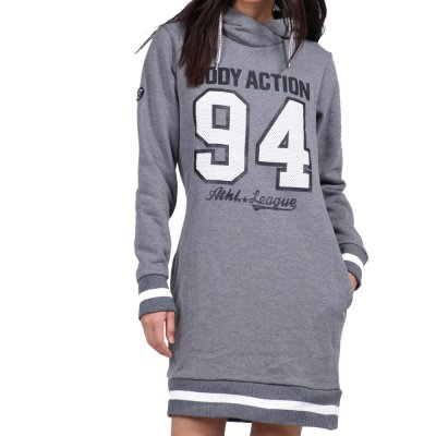Body Action WOMEN SLOUCH HOOD DRESS (061921-01 D.MEL.GREY)