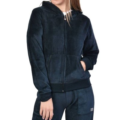 Body Action WOMEN VELOUR HOODIE JACKET (071928-01 BLACK)