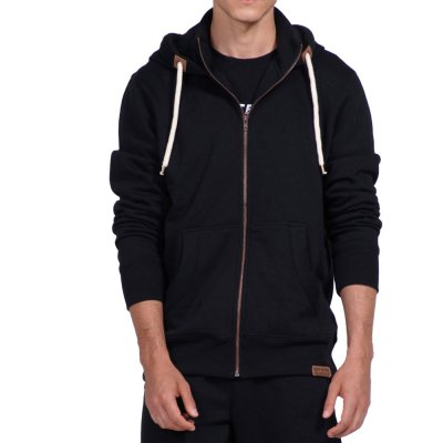Body Action MEN HOODED SWEAT JACKET (073917-01 BLACK)