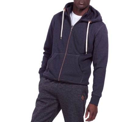 Body Action MEN HOODED SWEAT JACKET (073917-01 GRANITE)