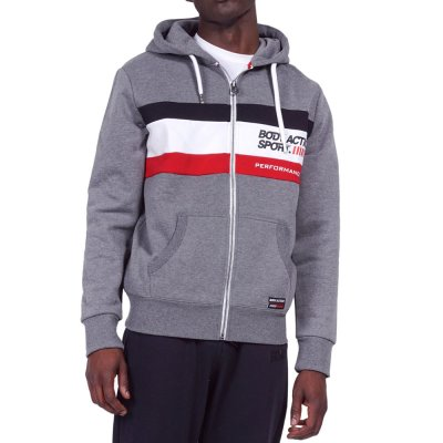 Body Action MEN TRI COLOR ZIP HOODIE (073919-01 D.MEL.GREY)