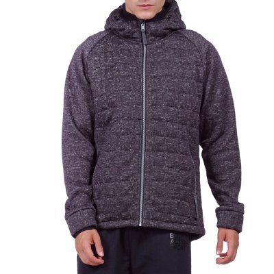 Body Action MEN QUILTED FLEECE ZIP HOODIE (073923-01 BLACK)
