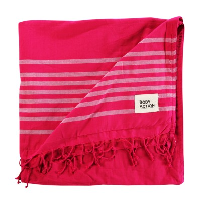Body Action BEACH TOWEL STRIPES (095801-01 FUCHIA)