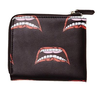 OBEY GENTRY LIPS HALF ZIP WALLET (100310115 BLACK MULTI)