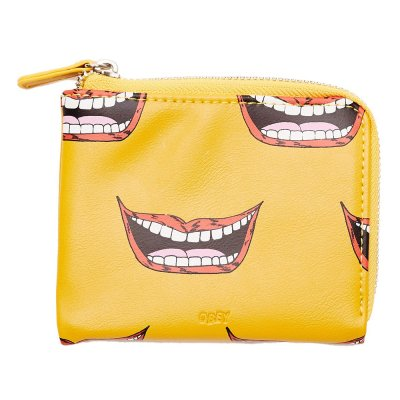 OBEY GENTRY LIPS HALF ZIP WALLET (100310115 ENERGY YELLOW MULTI)