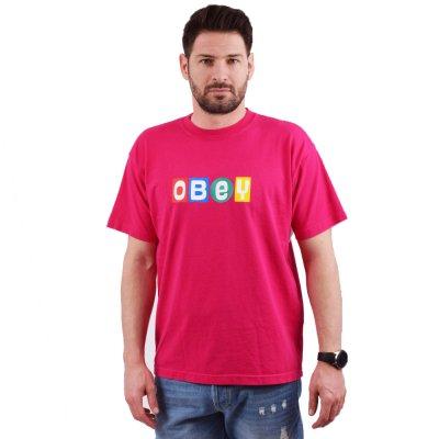 OBEY BIG SHOT HEAVYWEIGHT CLASSIC BOX TEE (166912184 MAGENTA)