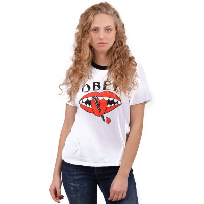 OBEY LIPS 90S RINGER TEE (267221568 WHITE-BRICK)
