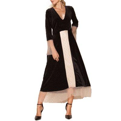 Nidodileda Kale black velvet studded tulle dress (B-218 TYPE)