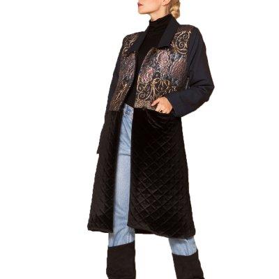 Nidodileda Venus midnight blue brocade black velvet coat (B-227 TYPE)