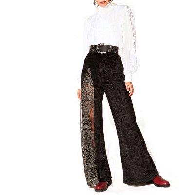 Nidodileda Arche black velvet embroidered tulle slit pants (B-242 TYPE)