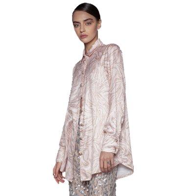 Nidodileda Rose printed powder pink satin buttoned up shirt (B-255 TYPE)