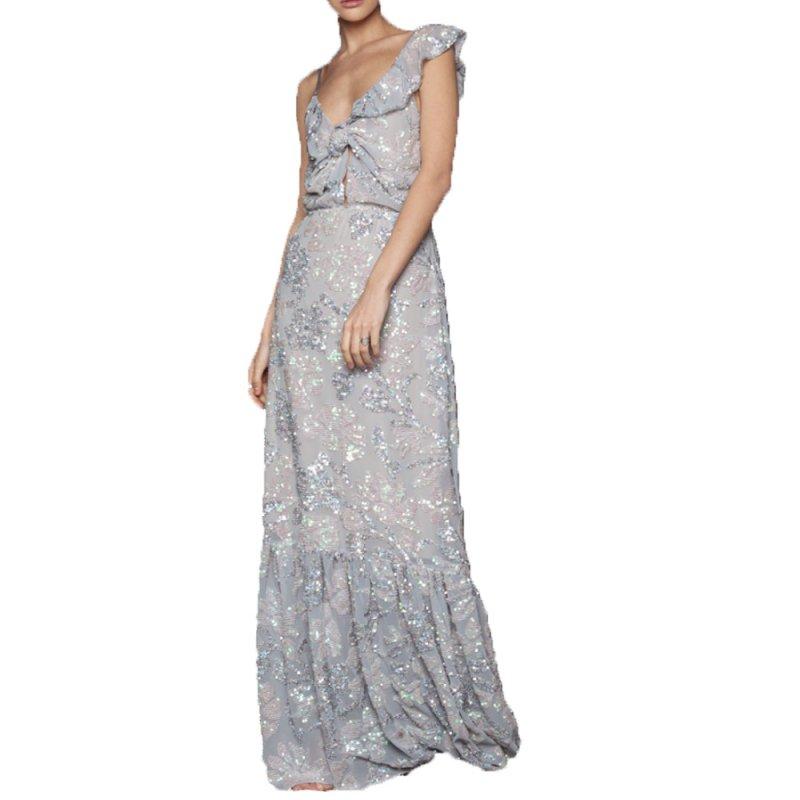 Nidodileda Diamond sequined silver muslin one shoulder dress (B-273 TYPE)