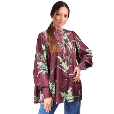 Nidodileda Eden satin floral mao shirt (B-282 BORDEAUX)