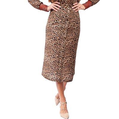 Nidodileda Zaria leopard knitted buttoned skirt (B-290 TYPOS)