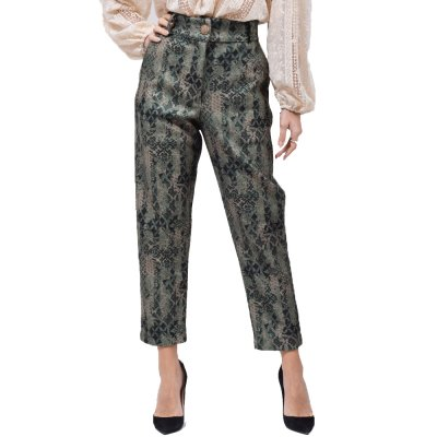Nidodileda Jinx green paisley printed wool pants (B-300 TYPOS)