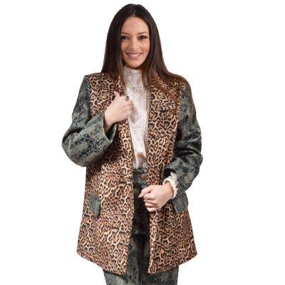 Nidodileda Jinx green paisley-leopardbuttoned up jacket (B-301 TYPOS)