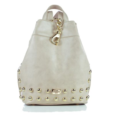 Elena Athanasiou Black n' Metal Backpack (EA-001 Creme-Gold)