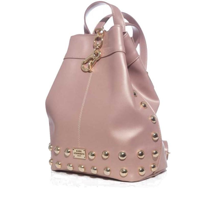 Elena Athanasiou Black n' Metal Backpack (EA-001 Dust Metalic Pink-Gold)