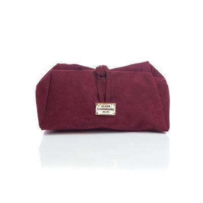 Elena Athanasiou Lunch Bag (Large) (EA-048 Suede Burgundy)