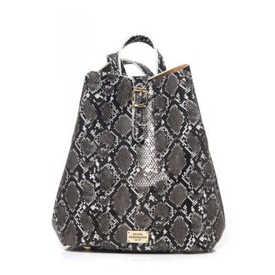Elena Athanasiou Recycled Leather Backpack (EA-051 Snake Pattern Black)