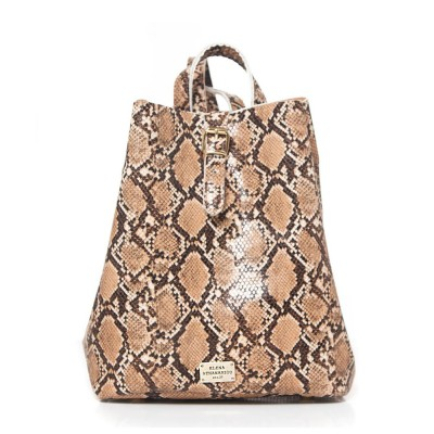 Elena Athanasiou Recycled Leather Backpack (EA-051 Snake Pattern Camel)