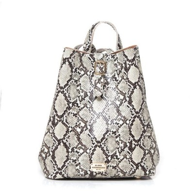 Elena Athanasiou Recycled Leather Backpack (EA-051 Snake Pattern Sand)