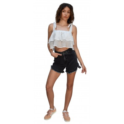 Mallory the Label LILLY CROP TOP WITH RUFFLES (MAL-LILLYTOP WHITE)